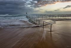 Sweeping the Rail (Crouchy69) Tags: sunrise dawn landscape seascape ocean sea water coast clouds sky motion flow newport beach pool sydney australia