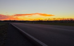 road to hell (christianhorvath339) Tags: austria outdoor morning sun sunrise clouds street 2470mm cold canoneos6d yellow dynamic fire sky sonnenaufgang