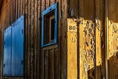 Cabane de pcheur - 2 (virginiefort) Tags: afs241204ged d600 bassindarcachon bleu blue borddemer cabane fenetre fishermanshut jaune nikon pecheur villagedelherbe window yellow