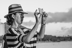 Stripes (Oliver Leveritt) Tags: candid monochrome blackandwhite woman waikikibeach waikiki honolulu hawaii oahu nikond7100 oliverleverittphotography afsvrzoomnikkor70300mmf4556gifed
