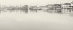 Harbor Buoy (PAJ880) Tags: buoy boston harbor ma charlestown skyline fog navy yard bridge mystic river tobin bw urban warerfront mono