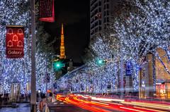 "Roppongi Hills Artelligent Christmas 2016 - ""SNOW & BLUE"" (703) Tags: christmas japan lighttrails pentaxk5 roppongihills tokyo tokyotower cityscape laserbeam lightrails night nightscape nightscene nightview"