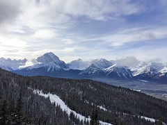 Mountain view (caitlinhenderson44) Tags: larch runs path skiresort view lift rocks blue sky valley riding snowboarding skiing lakelouise alberta rockies beautiful trees snow temple mouitains