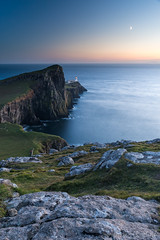 Neist Point Moonlight, Isle of Skye (Fabien Guittard) Tags: architecture automne coucherdesoleil fall landscape lighthouse longexposure lune moon paysage phare poselongue sunset travel voyage highlands scotland cosse skye