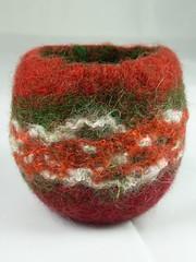Xmas Red Felt Tealight 1 (Natasha Smart Textiles) Tags: handmade wetfelted uk bowl tealight candle norwegian wool fleece felt yarn christmas xmas 2016 red burgundy green