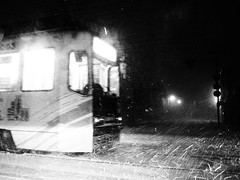 (dragonpeace) Tags:  pen olympus bw black white snow  tram  inclement