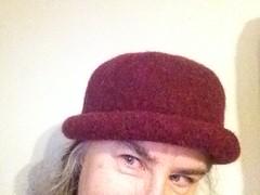 Day 10 - Burgundy Bowler (lady-ursula) Tags: bowler hat hattitude burgundy wool felted