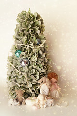 Little Lovelies Holiday Spirit (little  lovelies) Tags: littlelovelies handmade handcrafted plush doll dolly teddy bear elephant baby elly dollhouse miniature little mori girl vintage lace cotton dresses silk scarf candycushions christmas tree holiday banner garland