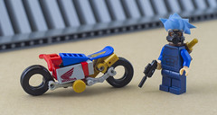 Nobu and his Honda Ahoudori (01) (F@bz) Tags: cyberpunk bike motorcycle lego wheel sf space scifi akira honda moc