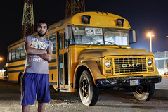 GMC Old Bus (Mohammed Al Mahdi) Tags: old portrait bus yellow night 35mm photography nikon hassan gmc d90 18g