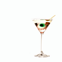 the cannibal's martini (brescia, italy) (bloodybee) Tags: stilllife food white reflection eye glass square psychiatry fun scary candy drink humor olive martini explore cocktail eat health alcohol eyeball toothpick refraction horror sweets medicine disorder splatter taboo cannibalism mental 365project antropophagy