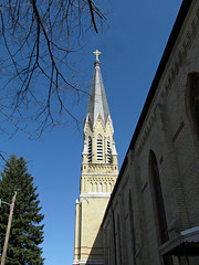 The steeple from the back of the church (debstromquist) Tags: spring downtown churches indiana steeples 1886 southbend catholicchurches nationalregisterofhistoricplaces stpatrickscatholicchurch backofthechurch founded1858 staylorst