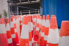 cones and containers (Sun Spiral) Tags: city newzealand christchurch urban orange earthquake aotearoa trafficcones rebuild