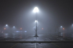 fog night lights parking lot