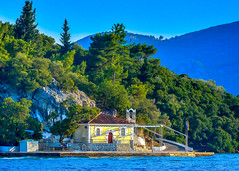 Church seen from Nidri... (Photo_hobbyist) Tags: blue trees sea green church water buildings island nikon greece lefkas nidri ionian lefkada eptanisa d5200