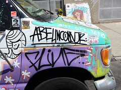 Detail of Graffiti Truck in Bushwick Brooklyn. (Allan Ludwig) Tags: brooklyn bushwick abelincolnjr detailofgraffititruck graffititruckdetail