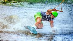 Touchdown (Subdive) Tags: summer green water action sweden helmet landing wakeboard västerås watersport watersplash canonef80200mmf28l cablepark magicdrainpipe canoneos60d västeråscablepark