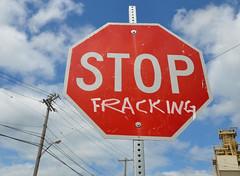 stop fracking (mcfcrandall) Tags: graffiti buffalo protest stopsign alteredsign fracking buffalony20140824