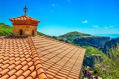 """On the Roof"".... (Photo_hobbyist) Tags: trees roof sky church nikon religion greece monastery christianity moni traveling orthodox vacations meteora kalampaka trikala varlaam thessalia d5200"