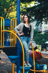 55.365 - A Child's Game (KatGatti) Tags: life street game girl fashion playground kids hair children lens 50mm cool model friend funny colorful adult style slide queen hips growingup own 365project canont3i vscofilm katgatti