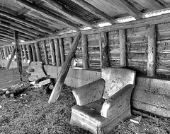 Nice place for lunch? (fewpictures4u) Tags: light barn wooden seat barns armchair derelict beams