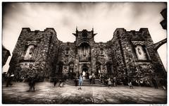 Edinburgh Castle : Entrance to the Scottish National War Memorial (The Unexplored) Tags: bw color colour castle monochrome architecture photoshop scotland nikon memorial war edinburgh shot grim scottish sigma mausoleum national single hdr selective lightroom midlothian photomatix tonemapped tonemapping unexplored d5000 816mm grimgit thegrimgit