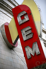 Gem theater sign 4 (Studiobaker) Tags: city red sign yellow marquee theater neon theatre kansas gem studiobaker