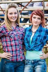 Rodeo Girls (rhn3photo) Tags: girls braces august redhead jeans blonde rodeo dimples bleachers spectators plaid 2014 sandyoaks