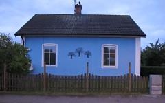 blue house (brandsvig) Tags: blue summer house dawn skne sweden july sverige sommar g11 bl 2014 ljungbyhed smedjegatan canong11