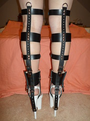 Tightly Strapped Black Leather Locking Shoe Braces (KAFOmaker) Tags: sexy leather sex shoe chains high shoes braces lock leg bondage chain strap heels heel cuff tight bound buckle locked brace straps sandal cuffs buckles locking restraints bracing restraint restrain cuffed strapped braced strapping tightly