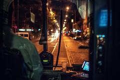 Warp speed, Mr. Sulu! (ewitsoe) Tags: street city startrek urban home window night train 35mm fun nikon view control tram poland pedestrian transit driver gears conductor poznan driverseat d80 jezyce driverwindow ewitsoe erikwitsoe