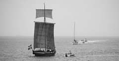 Old meet new (KronaPhoto) Tags: old sea summer bw water norway canon boat sommer sail bt hav seilbt gammel fembring