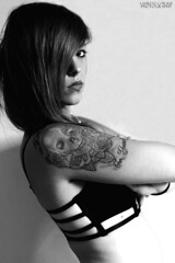 Myself! (coraliecarter) Tags: portrait blackandwhite girl naked photography autoportrait lips inked selfie girlwithtattoos girlwithpiercing