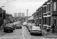 Widnes street scene 01 HD sep 16 (Shaun the grime lover) Tags: widnes halton cheshire lancashire fiddlers ferry poer station cooling towers hdr industrial monochrome street chimney