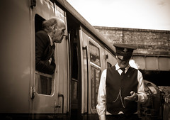 Waiting for departure. (Ian Emerson (Thanks for all the comments and faves) Tags: gcr quorn railway preserved heritage steam carriages passengers watch hat uniform waistcoat formal precise timings timetable train vintage outdoor canon 1855mm lightroom adobe omot