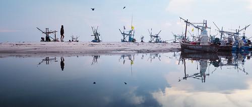 morning fisherman beach boats