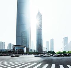 shanghai future city (pfn.photo) Tags: shanghai megacity skyscraper tower sun backlight traffic cars modern utopia light architecture china asia lujiazui