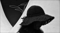F_DSC0080-BW-Nikon D800E-Nikkor 28-300mm-May Lee  (May-margy) Tags:      bw   streetviewphotographytaiwan  linesformandlightandshadows  mylensandmyimagination  naturalcoincidencethrumylens humaningeometry taiwan repofchina   fdsc0080bw portrait silhouette straw hat walls blur bokeh   taichungcity nikond800e nikkor28300mm maylee