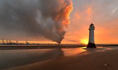 Liverpool dock fire (pentlandpirate) Tags: liverpool mersey newbrighton wirral dock fire seaforth albert blaze scrapmetal perchrock lighthouse plume smoke sunrise dawn