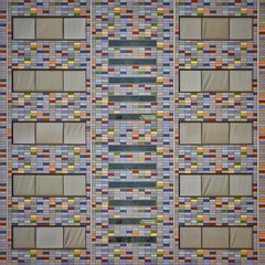 Candy Land Order (Paul Brouns) Tags:   square symmetrical symmetry order rhythm repetition repetitive abstract colorful colourful colors color tiles candy tapestries tapestry urban straight facade   architektur architecture architectuur