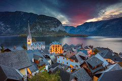 Hallstatt. (Rudi1976) Tags: hallstatt hallstattersee alpinevillage europeanalps austria buildingsexterior church europe history house lake landscape mountain mountainrange nature outdoors mountainridge autumn town tranquilscene traveldestinations scenics water cottage unesco nationallandmark twilight dawn sunrise streetlight illuminated roof outdoor
