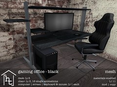 [ht:home] gaming office - black (Corvus Szpiegel) Tags: hate this hatethis ht home original mesh material materials enabled diffuse texture normal specular map geeksnnerds geek nerd office desk chair gaming computer monitor screen pc keyboard mouse black white pink wood leather metal steel widescreen furniture decoration decor deco sl second life secondlife