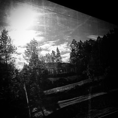 house (s_inagaki) Tags: house window dirty snap finland train blackandwhite bnw bw