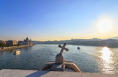 Cross over the Danube (Kcsor Zsolt) Tags: canon colors city color cloud clouds skyline sky sun sunset summer water waterfront town cross crown ship tokina 1224 70d building budapest hungary helysznek outdoor architecture river danube depth duna light lights