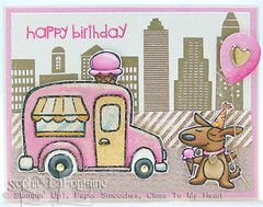 pink gold birthday ice cream (sophie.lafontaine) Tags: cards birthday ctmh icecreamtruck dog gold pink