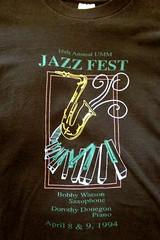 Jazz Fest 1994 (Funkomaticphototron) Tags: coryfunk shirt 1994 jazz jazzfest umm universityofminnesotamorris mn minnesota 16thannual bobbywatson dorothydonegon college