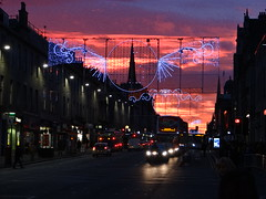 Union Street Christmas Lights (Ian Robin Jackson) Tags: aberdeen aberdeenunionstreet christmas road urban lights city church sky red buildings scotlandatchristmas explore sunset bus winter