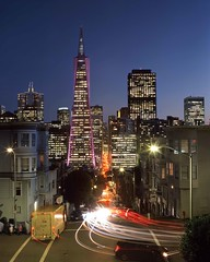 Welcome Transamerica Building Color (RZ68) Tags: transamerica pyramid building night blue hour cars traffic lights evening sunset sky long exposure houses delivery trucks city telegraph hill north beach san francisco downtown holiday super bowl violet purple