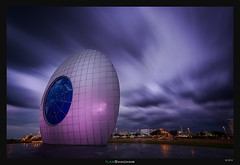 Eye With the Sky (Ilan Shacham) Tags: eye sky flow statue eyeofthesun architecture cityscape landscape view scenic drama dramatic fineart fineartphotography ashdod israel circle round streaking clouds night evening