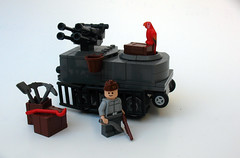 Coastal Defense Unit (Synthetic bug) Tags: lego tank parrot old treads rubber brickarms wwi wwii world war crate pickax shovel smile classic
